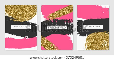 A set of three abstract brush stroke designs in black, pink and gold glitter texture. Invitation, greeting card, poster design templates. - stock vector