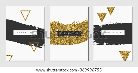 A set of three abstract brush stroke designs in black, white and gold glitter texture. Invitation, greeting card, poster design templates.