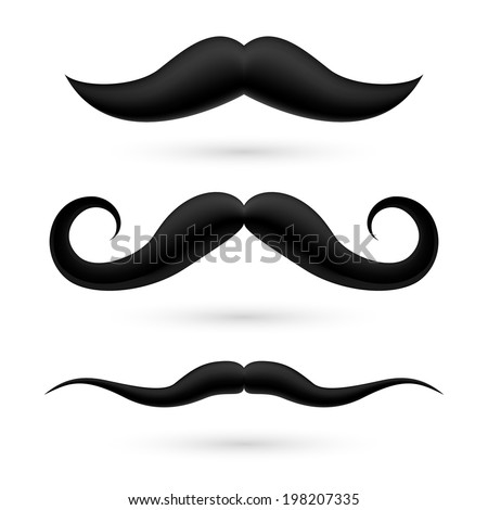 A set of three black wax moustache on white.