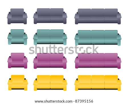 A set of three different kinds of sofas and arm chairs in four different colors on the white background