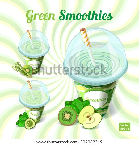 A set of three green smoothies in plastic cup with drinking straw with apple, kiwi, spinach, celery, kiwi, cucumber on isolated background. A healthy diet, vegetarianism and detox. Vector illustration