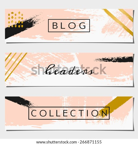 A set of three hand drawn brush strokes header designs. Pastel pink, black and golden color palette. Modern and elegant blog design elements. - stock vector