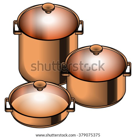 A set of three shiny copper cooking pots - stock, soup, paella and risotto pots. - stock vector