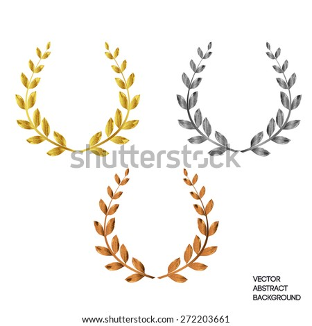 A set of three with a laurel wreath: first, second, third. Gold, silver, bronze - stock vector