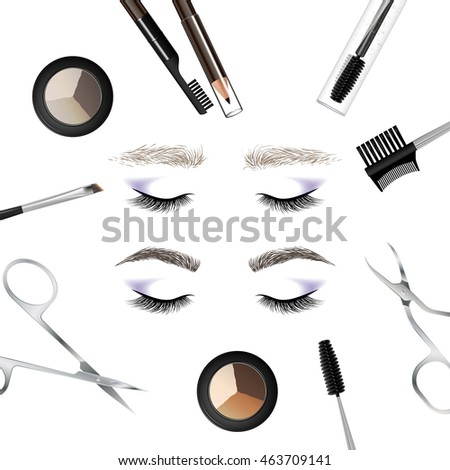 eyebrow makeup tools. a set of tools and accessories for the care eyebrows. brushes, combs eyebrow makeup