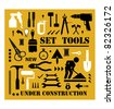 A set of tools silhouettes in black on a yellow background and black - stock vector