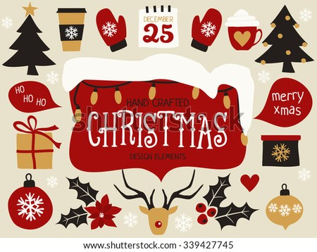 A set of traditional Christmas design elements in red, black, white and gold. - stock vector