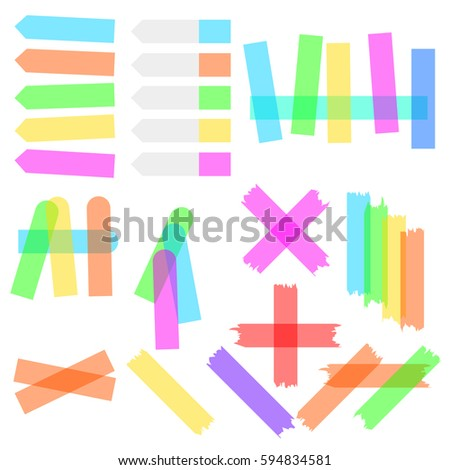 A set of transparent colored adhesive tapes stickers and bookmarks isolated on a white