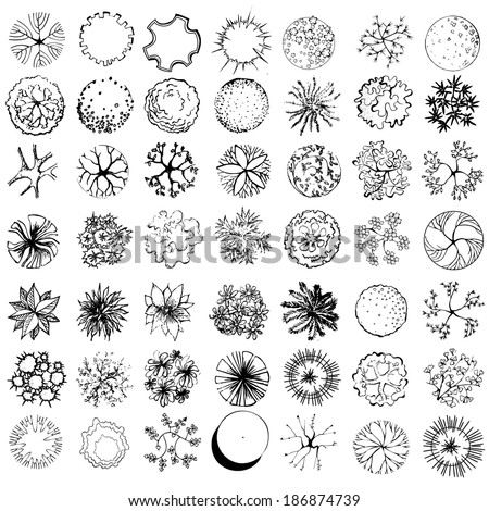 A set of treetop symbols, for architectural or landscape design, black and white