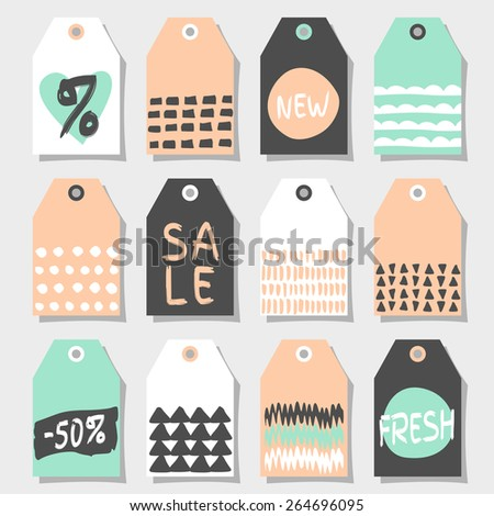 A set of twelve abstract geometric label designs. Shopping, sales, advertising, price tags and product label templates. Black, pink, white and mint color palette. - stock vector