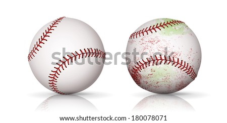 A set of two baseballs one new and one used.