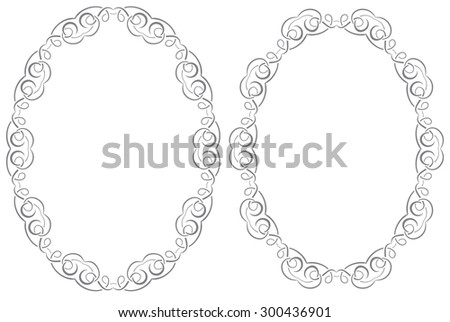 A set of two oval vector frames - stock vector