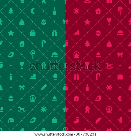 A set of two vector seamless monochrome patterns. Red and green festive backgrounds with christmas symbols and argyle elements. - stock vector
