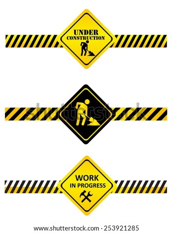 A set of under construction signs and tapes.  - stock vector