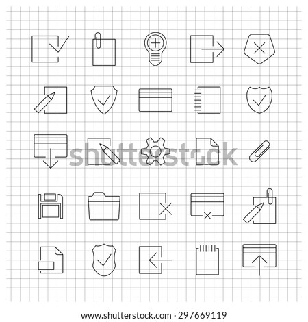 A set of universal icons for the web of thin lines, vector illustration - stock vector
