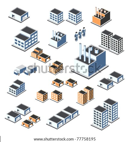 A set of urban and industrial buildings in the isometric - stock vector
