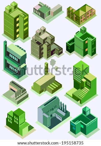 A set of urban and industrial buildings isometric on green tone - stock vector