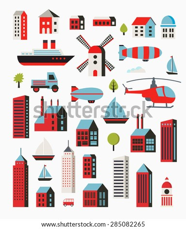 A set of urban objects in a flat style, including trees and vehicles, balloon and boats and yachts. - stock vector