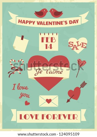 A set of Valentine's Day design elements in vintage style. - stock vector