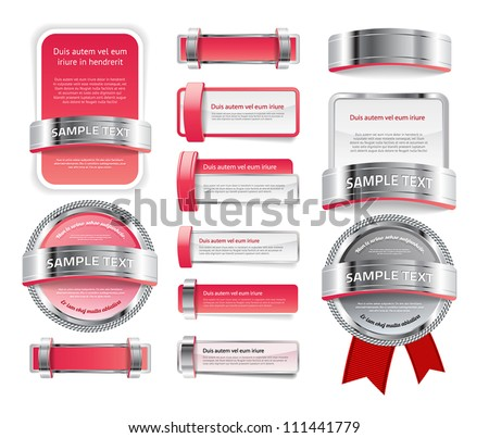A set of various vector badges banners and buttons, of glass metal and plastic, in pink red tones - stock vector