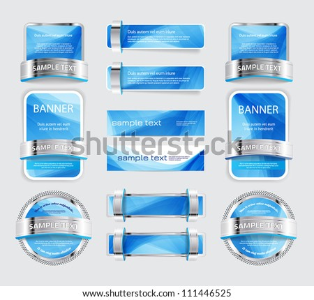 A set of various vector metallic buttons, banners and badges with soft blue backgrounds - stock vector