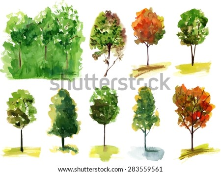 A set of various watercolour trees, scalable vector drawing - stock vector