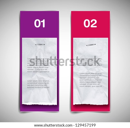 A set of vector cardboard banners (purple and pink) with torn paper pieces attached - stock vector