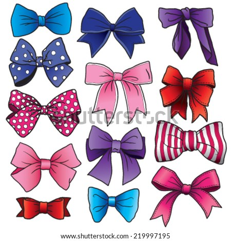 A set of vector cartoon bows and ribbons of different shapes and sizes - stock vector