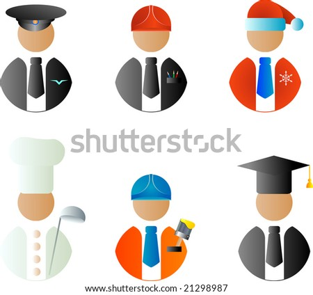 A set of vector characters of different professions: driver, cook, engineer, painter, Santa, professor