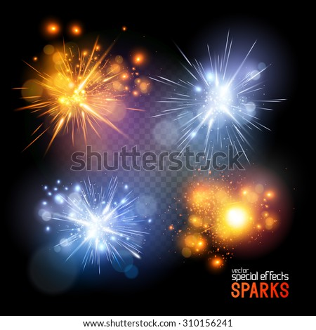 A set of vector electrical and fire sparks. - stock vector