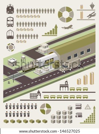 A set of vector elements on the subject of transport - stock vector