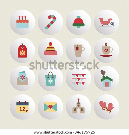 A set of vector graphic for christmas, winter vacation, holiday, gift, sports. bell, house, letter, card, stick, socks, hat, tag, cup, tea, coffee, candle, mountain, glove, thermometer, flag,