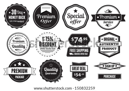 A set of 14 vector graphics, including badges, buttons and price tags. - stock vector