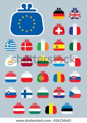 A set of vector icons of Euro flags as a purse. - stock vector