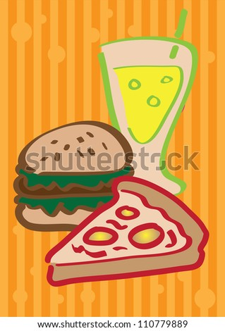 A set of vector illustrated fast food. - stock vector