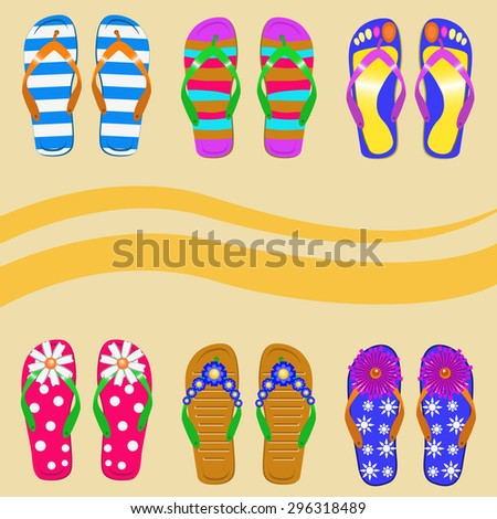 A set of vector images of slippers. Suitable for use in the design of the year or so about the beach - stock vector