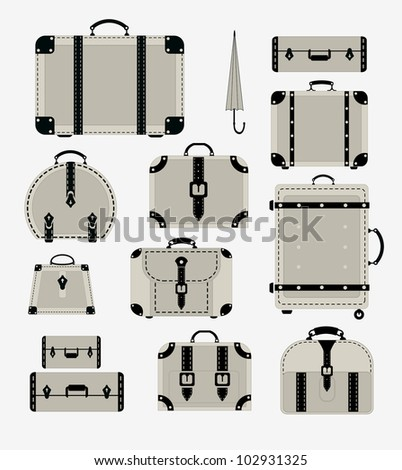 A set of vector images of traffic trunks and bags - stock vector