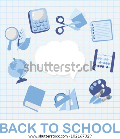 A set of vector images. School subjects (blue colors) - stock vector