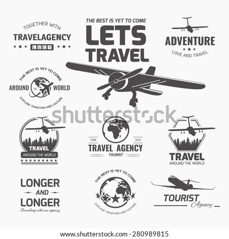 A set of vector logo design elements for travel agency. Plane, travel, vacation - stock vector