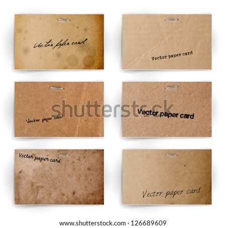 A set of vector old paper cards - stock vector