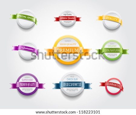 A set of vector plastic round badges / banners with ribbons - stock vector