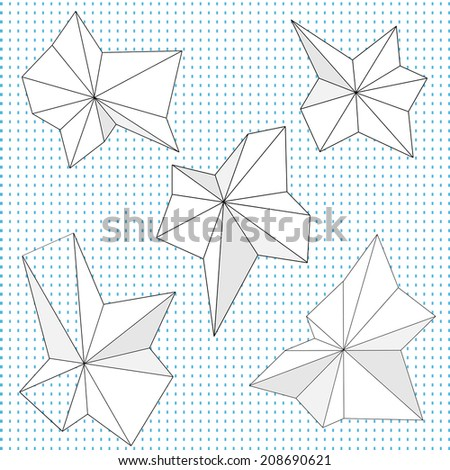 A set of vector  pointed angular geometric folding shapes - stock vector