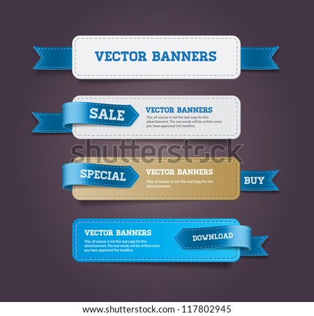 A set of vector promo banners decorated with blue ribbon tags - stock vector