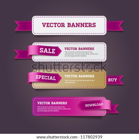 A set of vector promo banners decorated with purple ribbon tags - stock vector