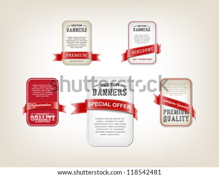 A set of vector promo banners decorated with red ribbon tags - stock vector