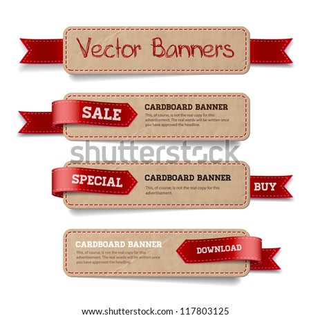 A set of vector promo cardboard paper banners decorated with red ribbon tags - stock vector