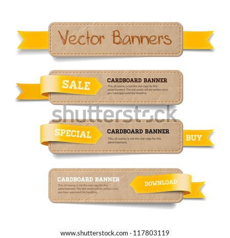 A set of vector promo cardboard paper banners decorated with yellow ribbon tags - stock vector