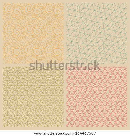 a set of vector seamless background patterns in pastel colors