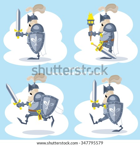 A set of vector shapes funny medieval knight in white cloak with spear and flag isolated on white background - stock vector