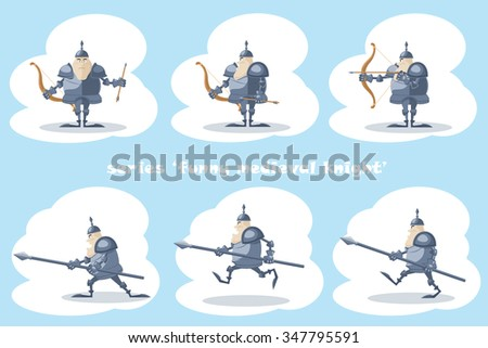A set of vector shapes funny medieval knight with a spear in the hands and archer with arrow  isolated on white background - stock vector